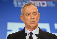 Blue and White chairman Benny Gantz speaks at a campaign event