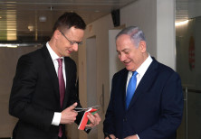 Prime Minister Benjamin Netanyahu with the Hungarian Foreign Minister at the dedication ceremony of