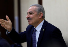 Mohammad Shtayyeh gestures during a Palestinian leadership meeting in Ramallah, in the Israeli-occup
