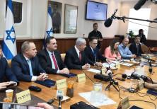 Prime Minister Benjamin Netanyahu at a cabinet meeting