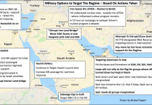 Michael Pregent's map of possible military actions that could be taken by the US to confront Iran, b