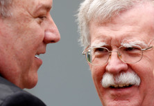 U.S. Secretary of State Pompeo talks with national security adviser Bolton prior to a Abe-Trump join