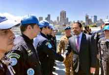 Lebanese Prime Minister Saad Hariri visits the flagship of UNIFIL Maritime Task Force at Beirut Port