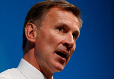 Jeremy Hunt gestures as he attends a event in Cheltenham, Britain July 12, 2019