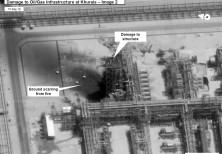 A satellite image showing damage to oil/gas Saudi Aramco infrastructure at Khurais, in Saudi Arabia