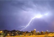 Lightning strikes over the Beit Safafa neighborhood in Jerusalem, Oct. 14, 2019