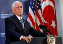 U.S. Vice President Mike Pence speaks to reporters at a news conference at the U.S. Embassy, Ankara