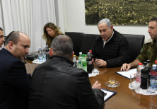 Prime Minister Benjamin Netanyahu holds a briefing with Defense Minister Naftali Bennett and IDF hea