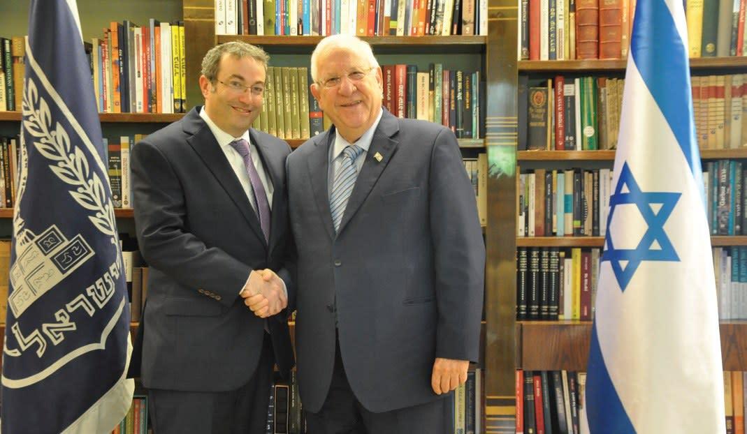 Rabbi Ari Berman, president of Yeshiva University, with President Reuven Rivlin (Credit: Office of the President)