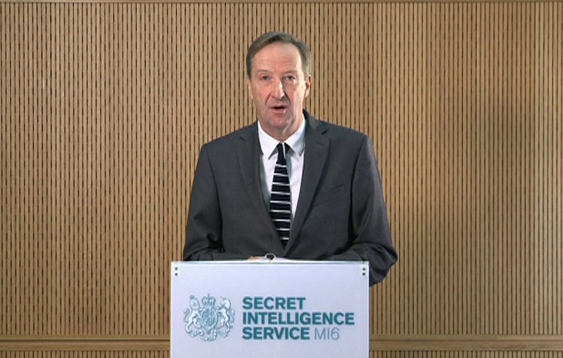 MI6 chief Alex Younger speaks in this still image from video, December 8, 2016. (CROWN COPYRIGHT/HANDOUT VIA REUTERS)