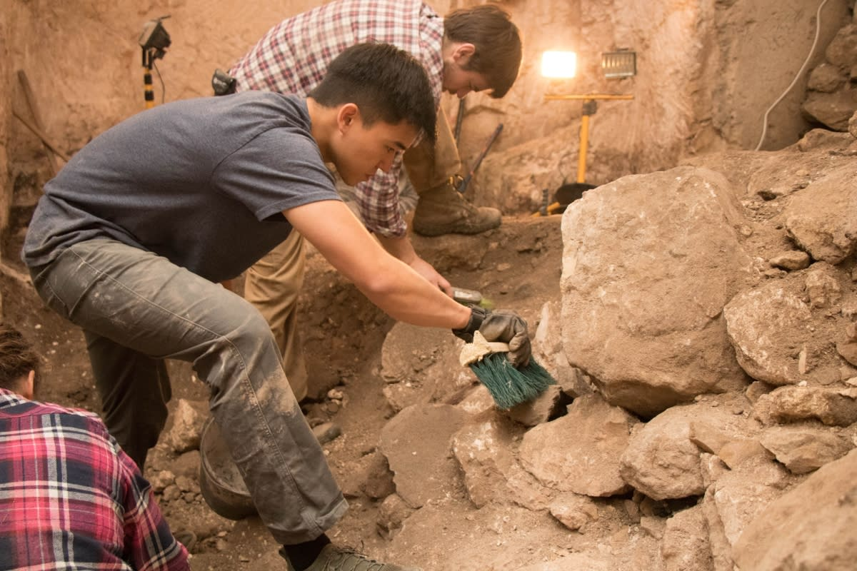 Herbert W. Armstrong College students participating in Jerusalem excavations (Eilat Mazar)