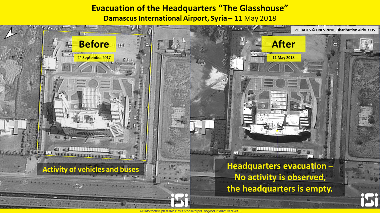 "Evacuation of the headquarters ""the Glasshouse,"" Damascus International Airport, Syria, 11 May 2018 (Credit: IMAGESAT INTERNATIONAL - ISI)"