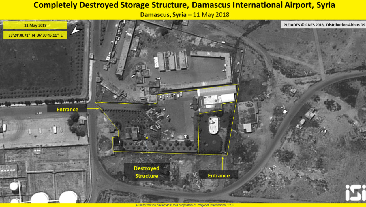 "Evacuation of the headquarters ""the Glasshouse,"" Damascus International Airport, Syria, 11 May 2018 (Imagesat International - ISI)"