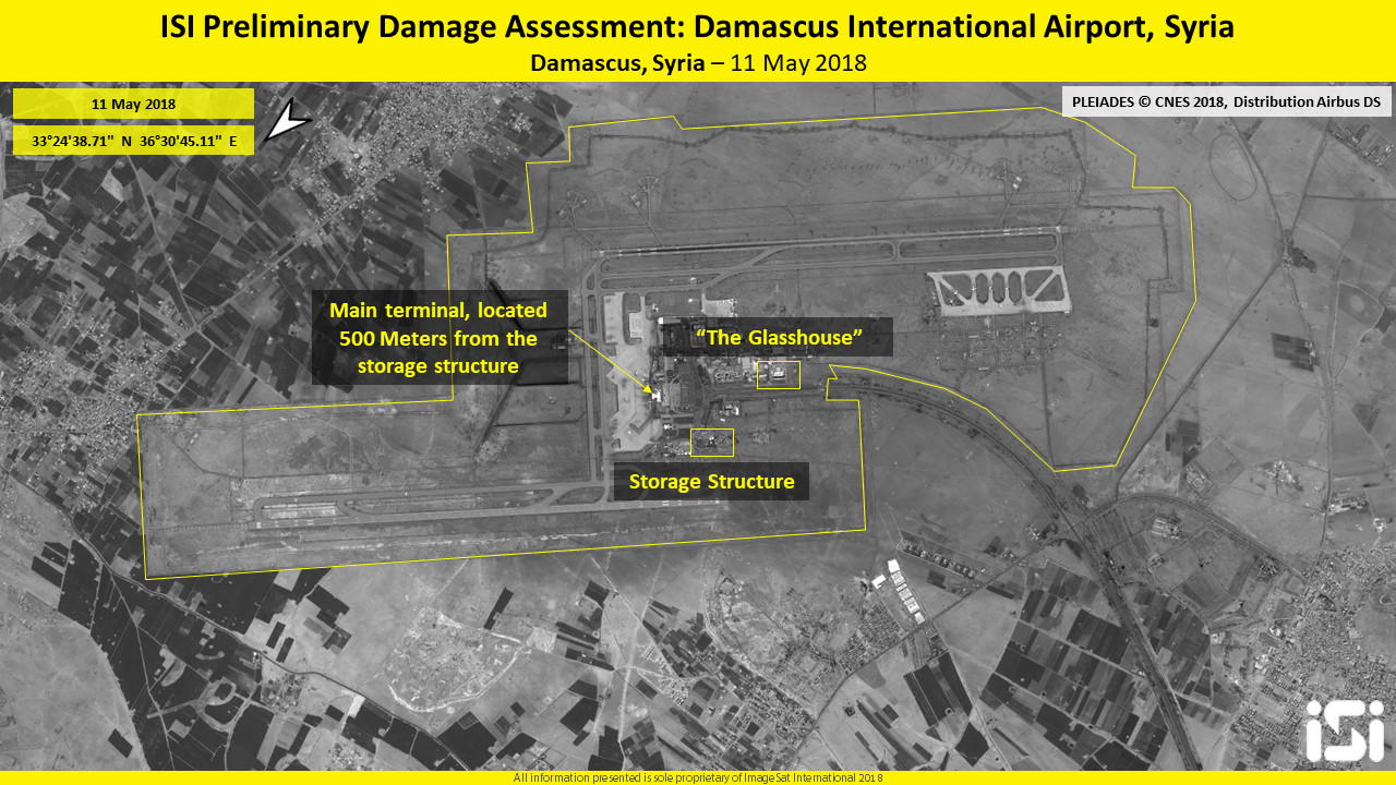 Preliminary Damage Assessment, Damascus International Airport, Syria, 11 May 2018 (Imagesat International - ISI)