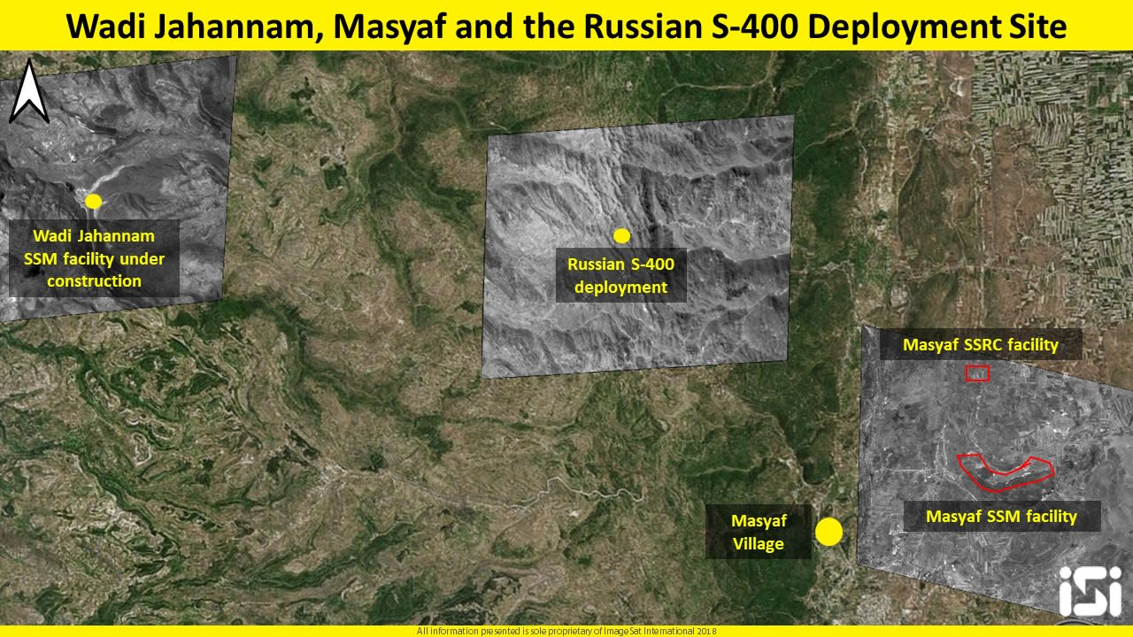 Satellite image showing the development and production of surface-to-surface missiles (SSM) facilities in the area of Wadi Jahannam and Masyaf (IMAGESAT INTERNATIONAL (ISI))
