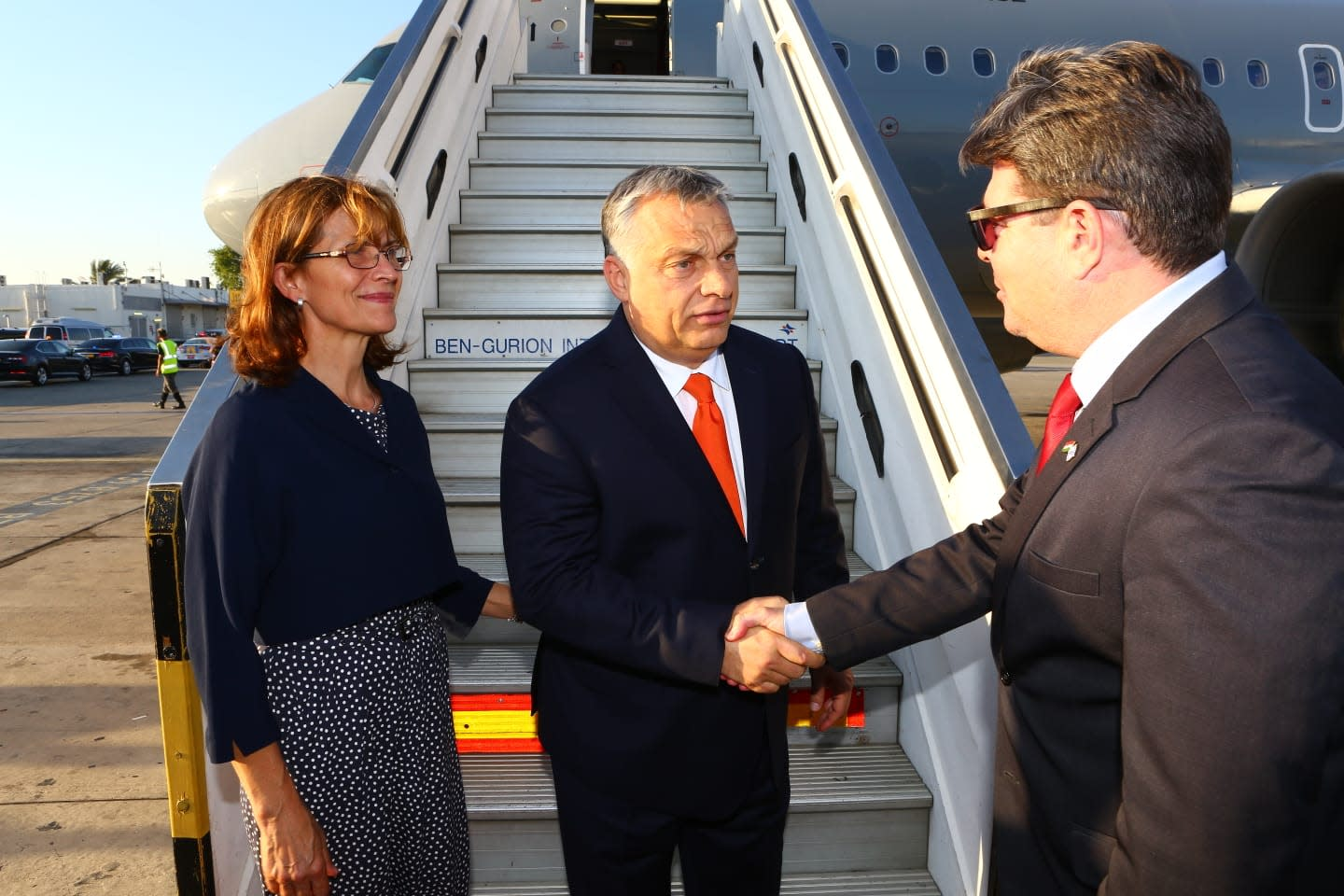 Hungarian Prime Minister Viktor Orban is greeted on arrival at Ben-Gurion Airport, July 18, 2018 (Ministry of Foreign Affairs)