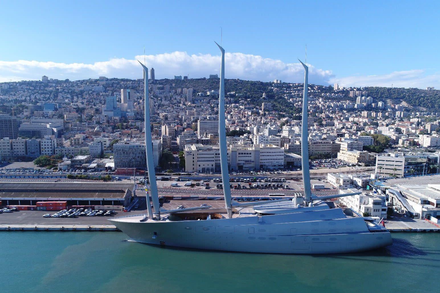 Mega Yacht Docks In Haifa Photo Credit GEDRONES