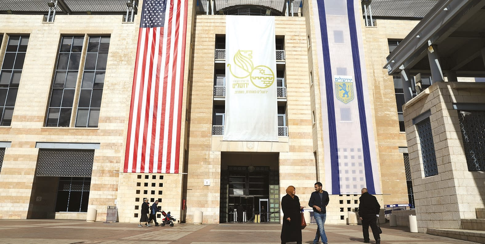 U.S. and Israel flags displayed in Jerusalem after Washington recognized Jerusalem as the capital. (Reuters)