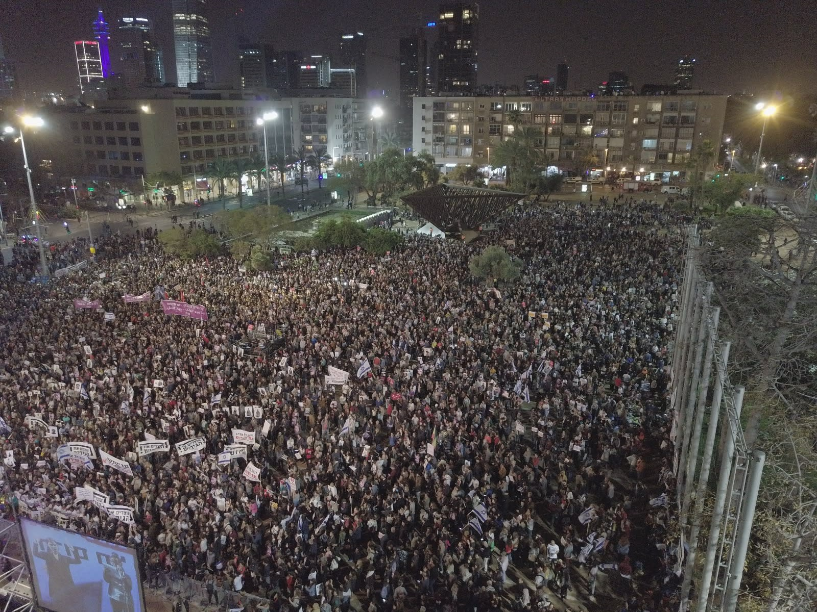 Protesters rally against plans to deport African migrants at Tel Aviv's Rabin Square (ENDING THE DEPORTATION PR)