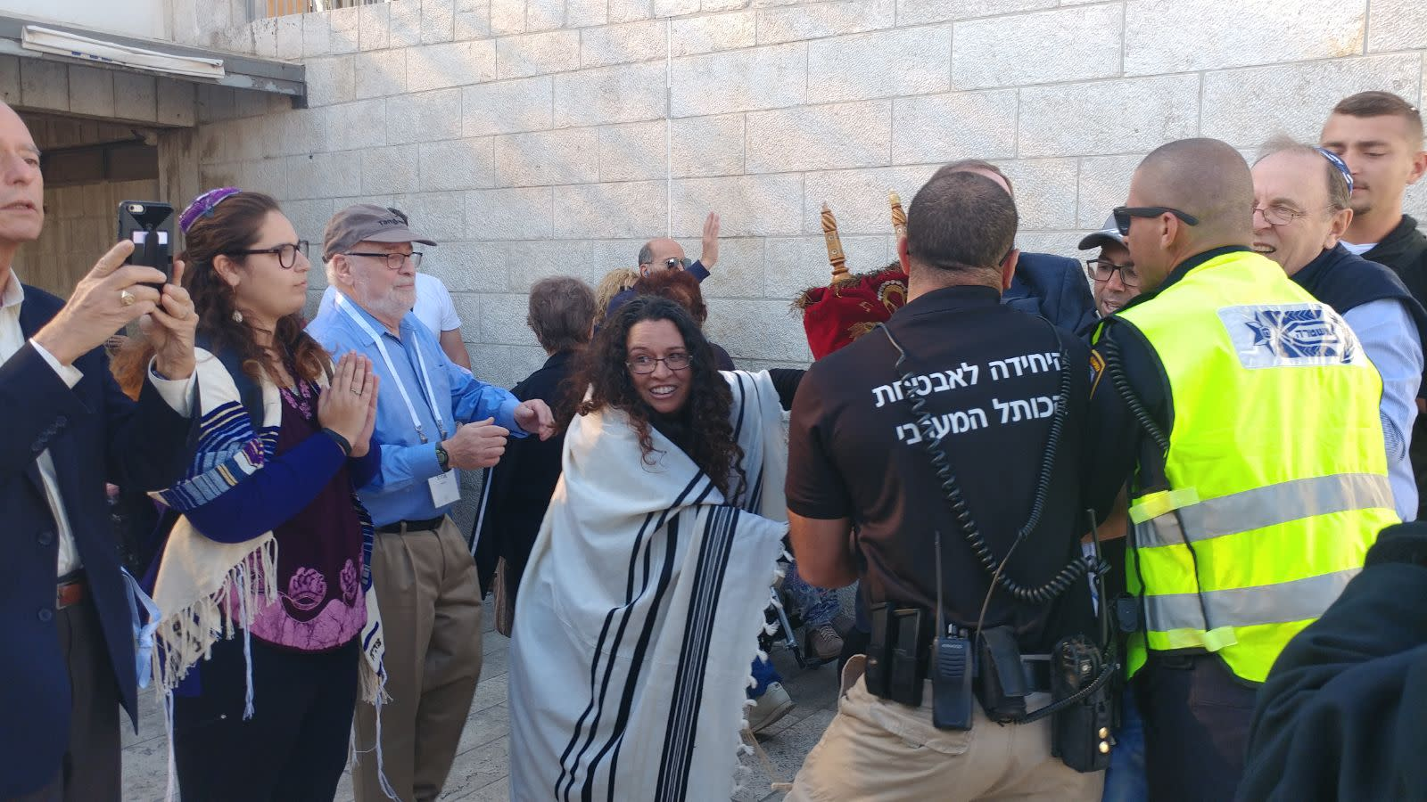 Security guards restrain Reform rabbis from entering the Western Wall complex on November 16th.