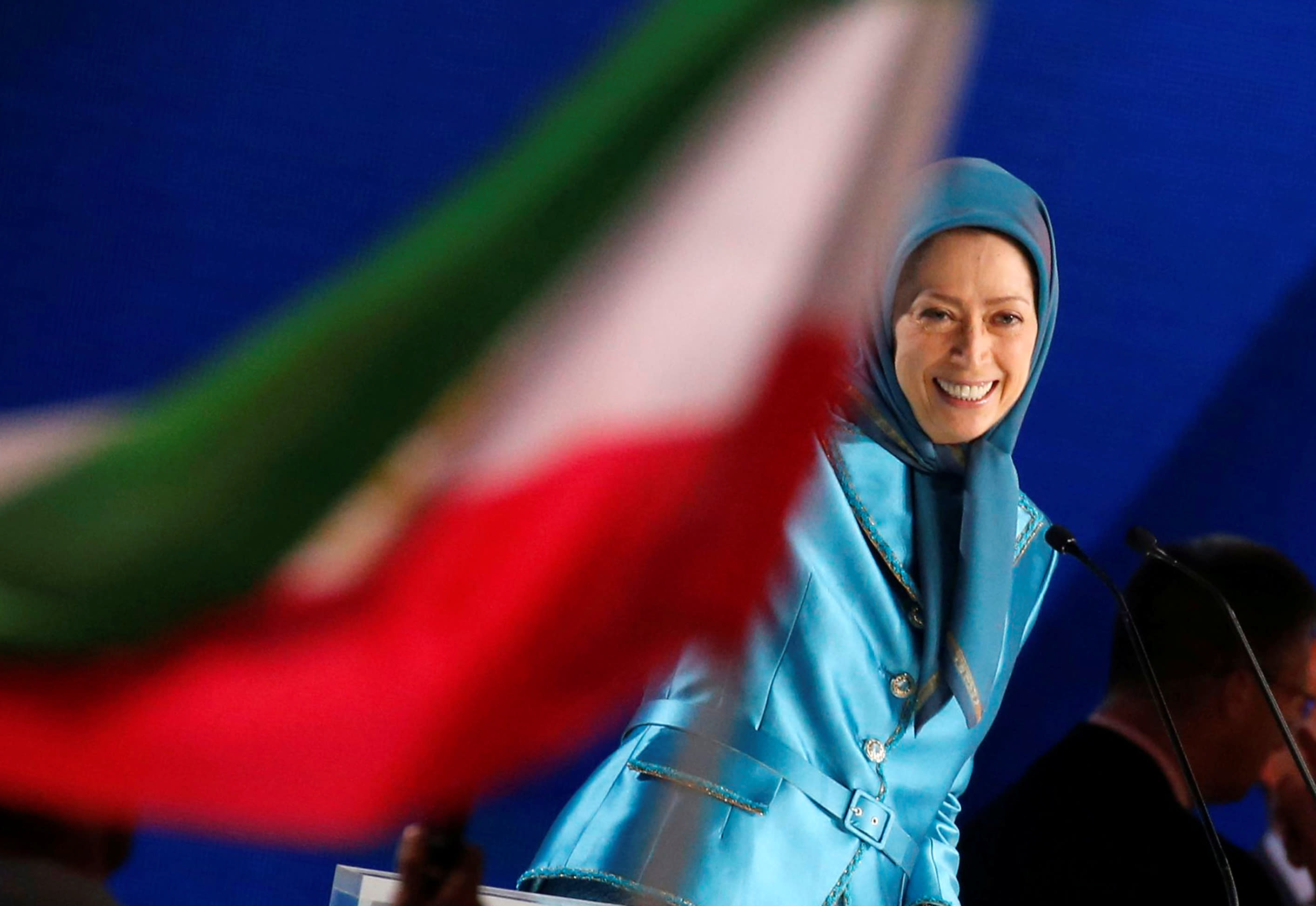 Maryam Rajavi, president-elect of the National Council of Resistance of Iran (NCRI), delivers a speech during their gathering in Villepinte, near Paris, France, June 30, 2018 (REUTERS/REGIS DUVIGNAU)