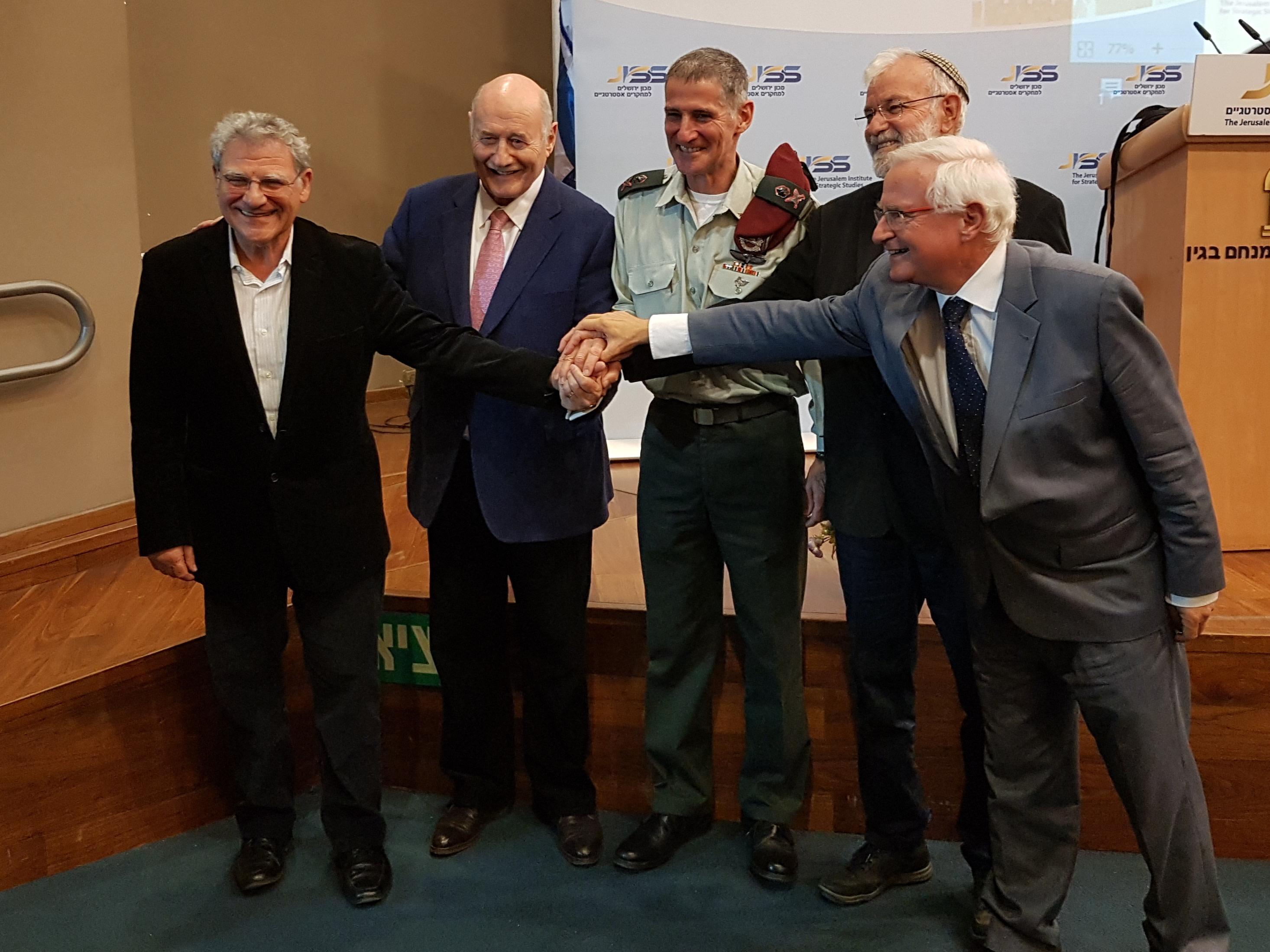 Left to right: Efraim Inbar, Greg Rosshandler, Yair Golan, Yaakov Amidror and Eran Lerman (Yonah Jeremy Bob)