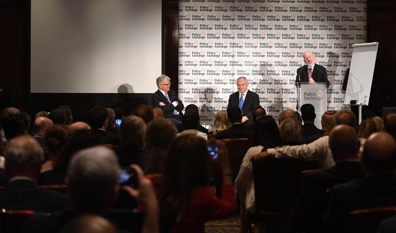 Prime Minister Benjamin Netanyahu at the Policy Exchange think tank, London, June 7, 2018 (Haim Zach/GPO)