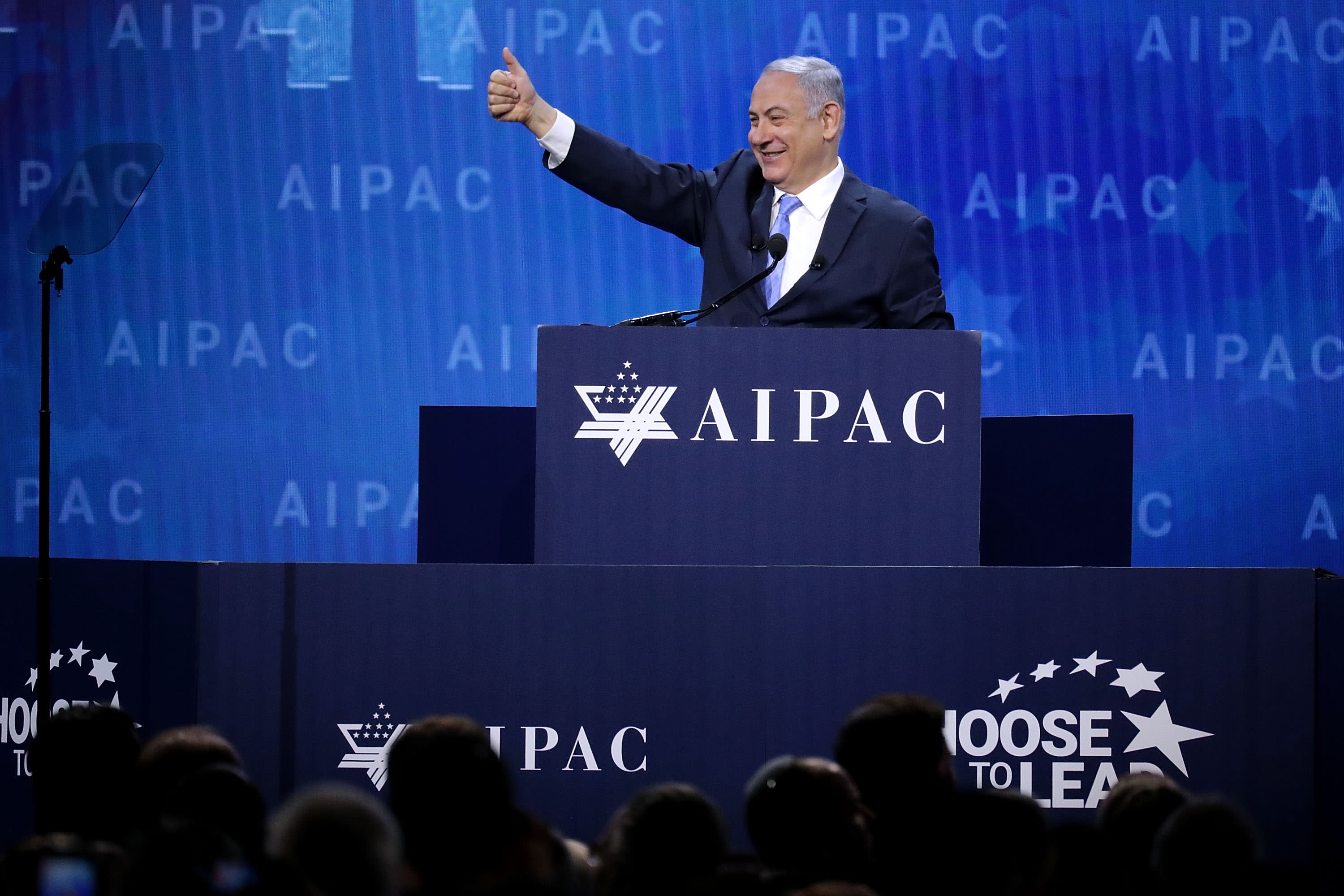Israeli Prime Minister Benjamin Netanyahu addresses the AIPAC annual policy conference, March 6, 2018 in Washington, DC. (CHIP SOMODEVILLA / GETTY IMAGES NORTH AMERICA / AFP)