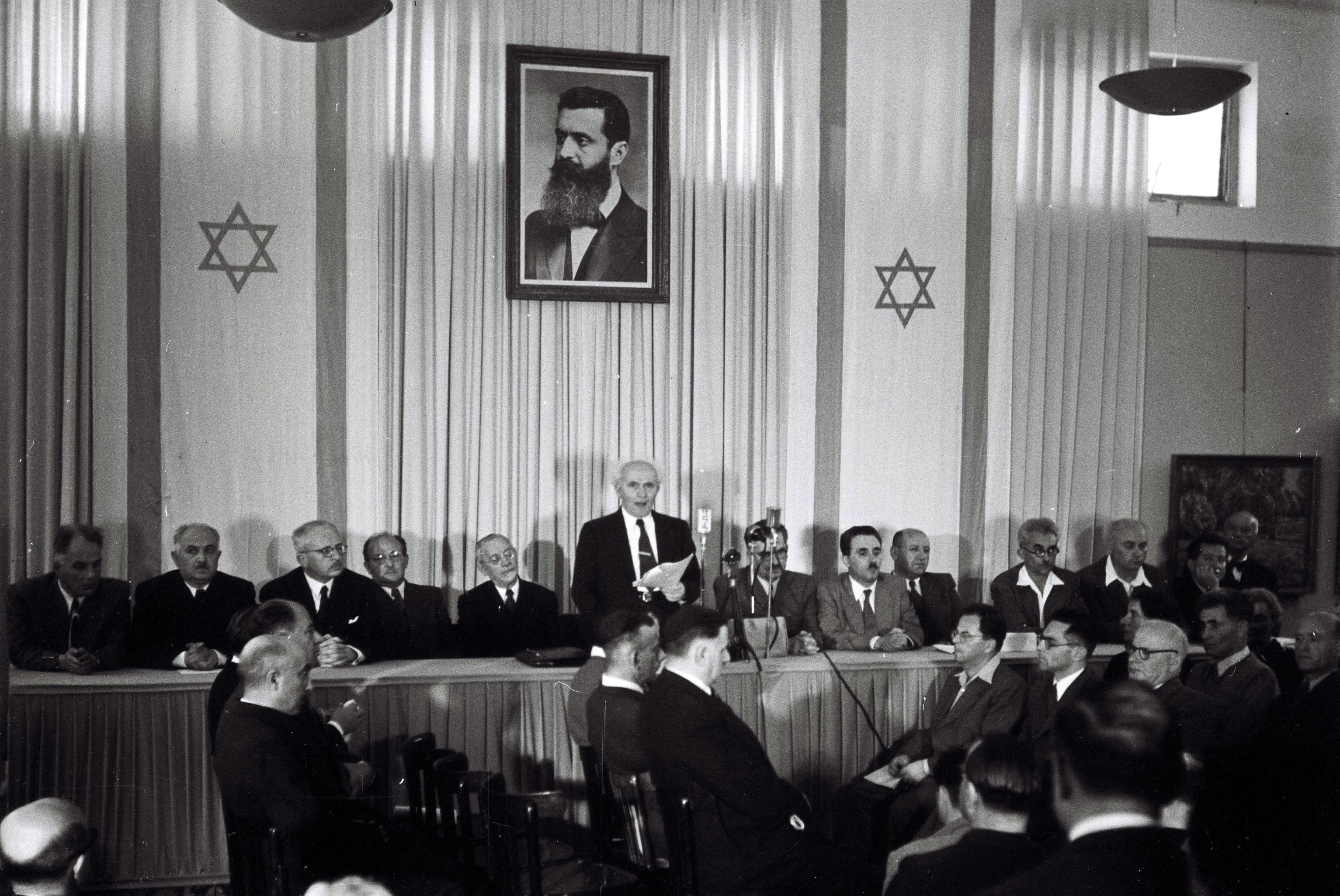 Prime Minister David Ben-Gurion declares Israel an independent state in Tel Aviv on May 14, 1948 (Zoltan Kluger)