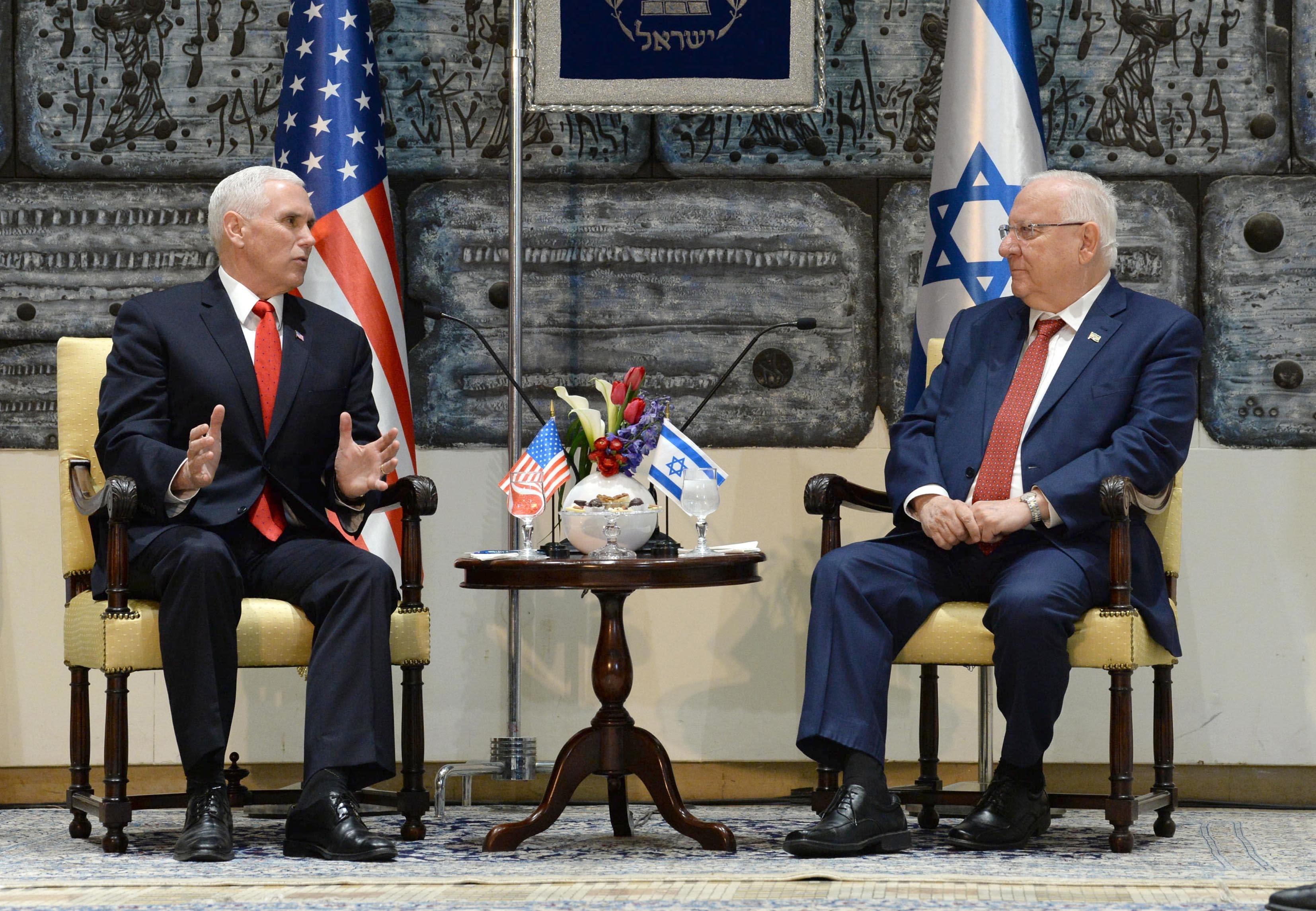US Vice President Mike Pence and Israeli President Reuven Rivlin meet at the President's Residence, Jerusalem, January 2018 (Mark Neiman/GPO)