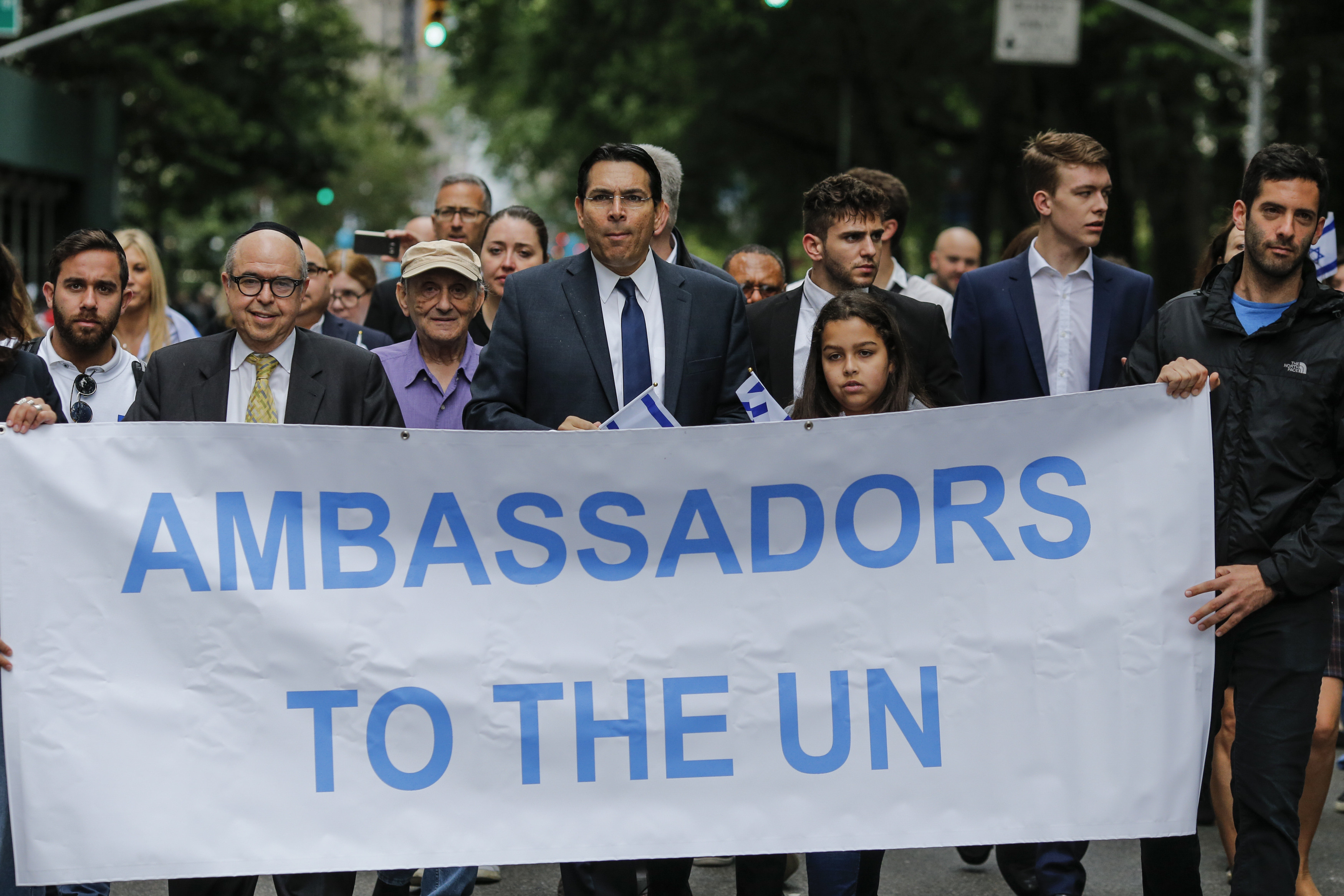 Permanent Representative of Israel to the United Nations Danny Danon (C) marches during the annual Celebrate Israel Parade on June 3, 2018 in New York City. (Kena Betancur/Getty Images/AFP)