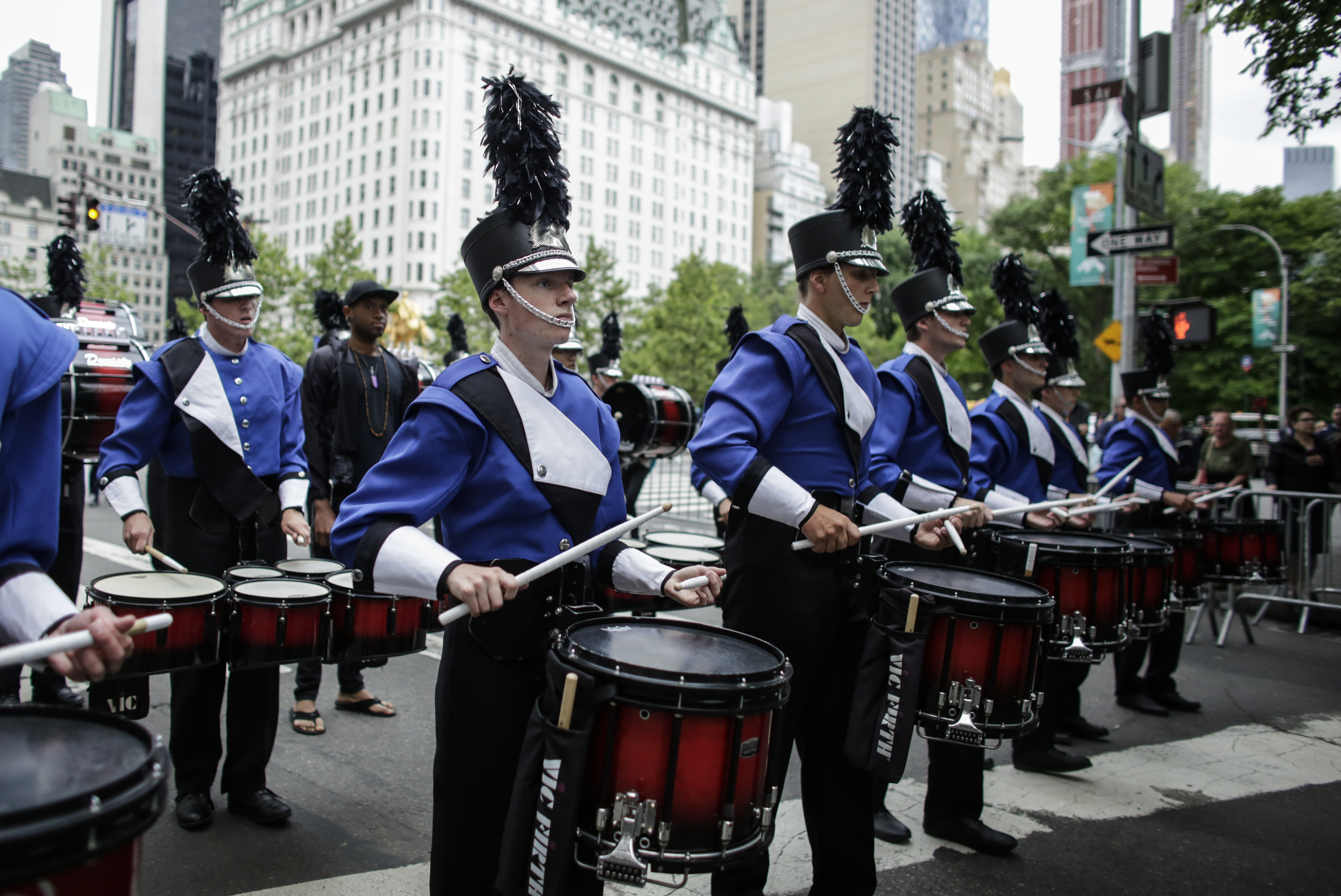 NEW YORK, NY - A marching band performs during the annual Celebrate Israel Parade on June 3, 2018 in New York City. (Kena Betancur/Getty Images/AFP)