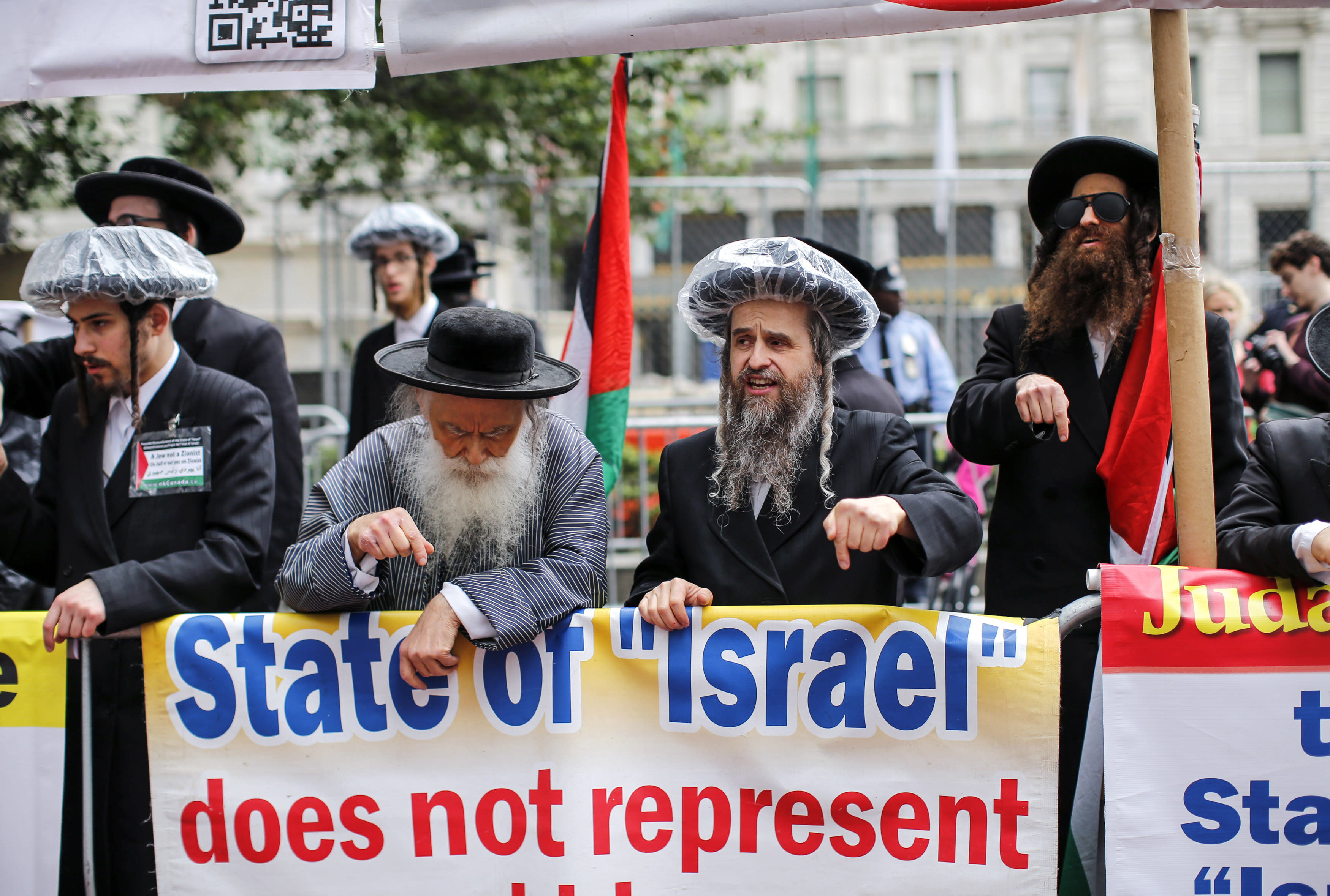 Anti-Israel protestors demonstrate near the annual Celebrate Israel Parade on June 3, 2018 in New York City. (Kena Betancur/Getty Images/AFP)