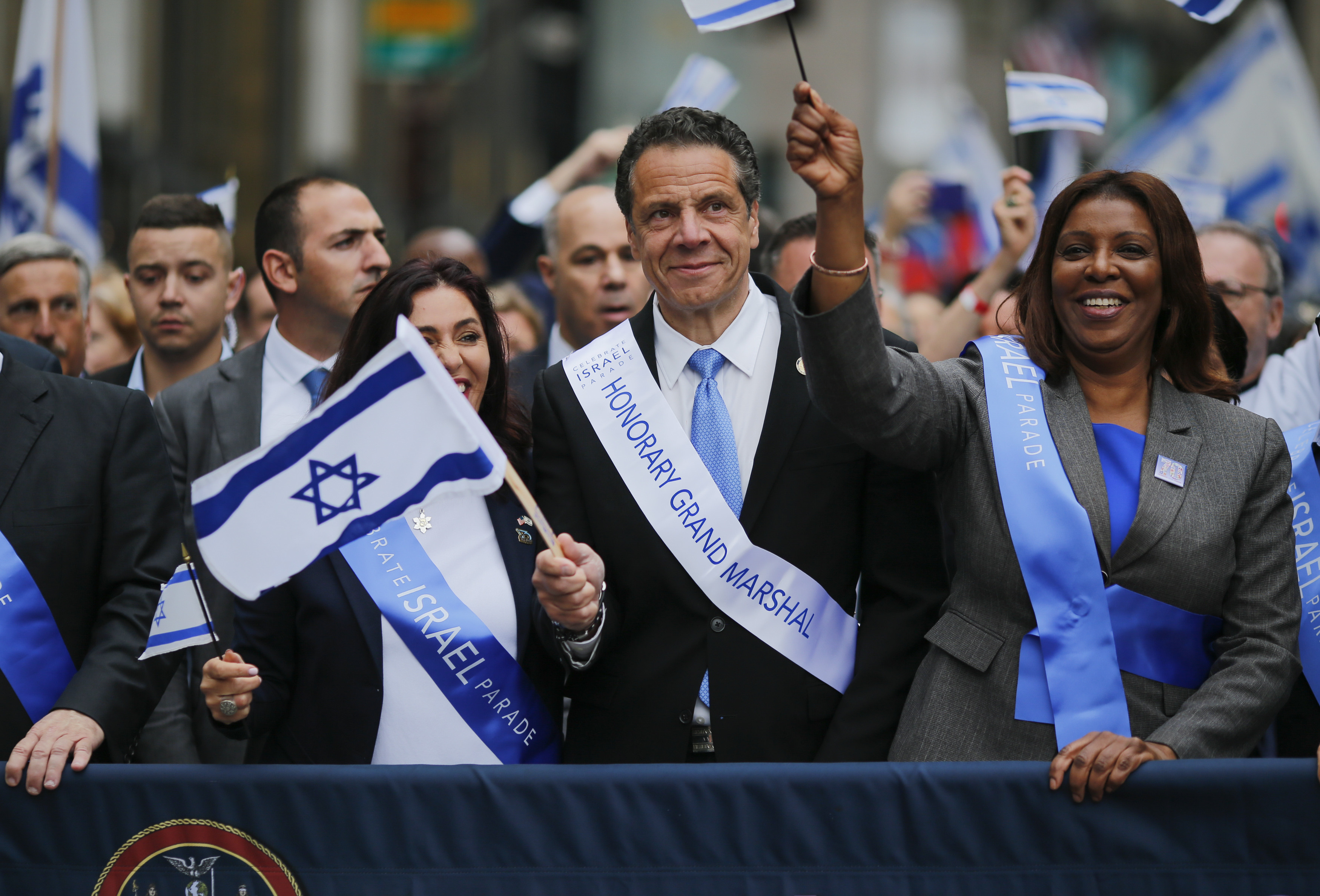 NEW YORK, NY - New York Governor Andrew Cuomo marches during the annual Celebrate Israel Parade on June 3, 2018 in New York City. (Kena Betancur/Getty Images/AFP)