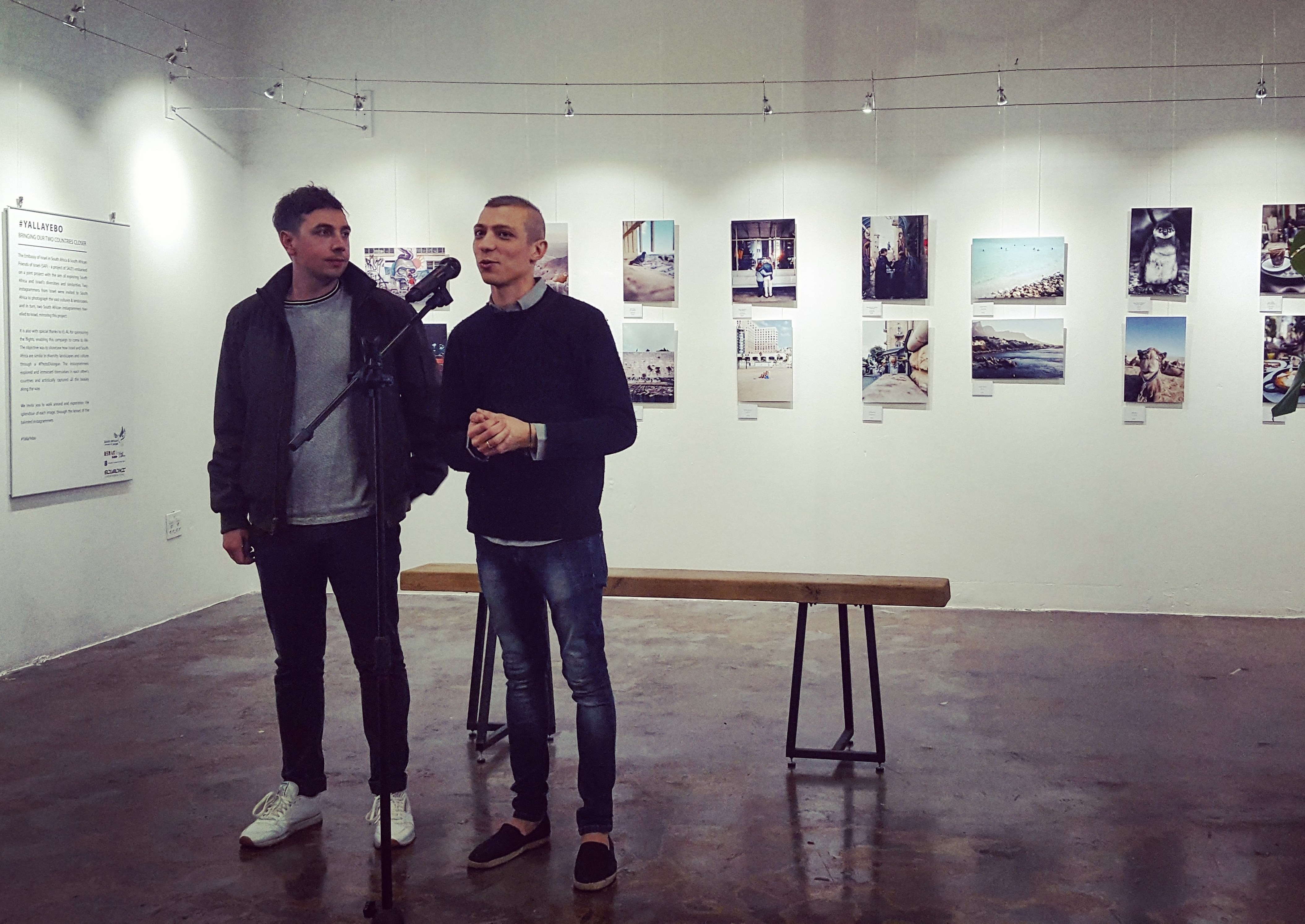 Instagrammers Miklas Manneke and Alexi Portokallis at the opening of the exhibition, May 31, 2018 (Ilanit Chernick)