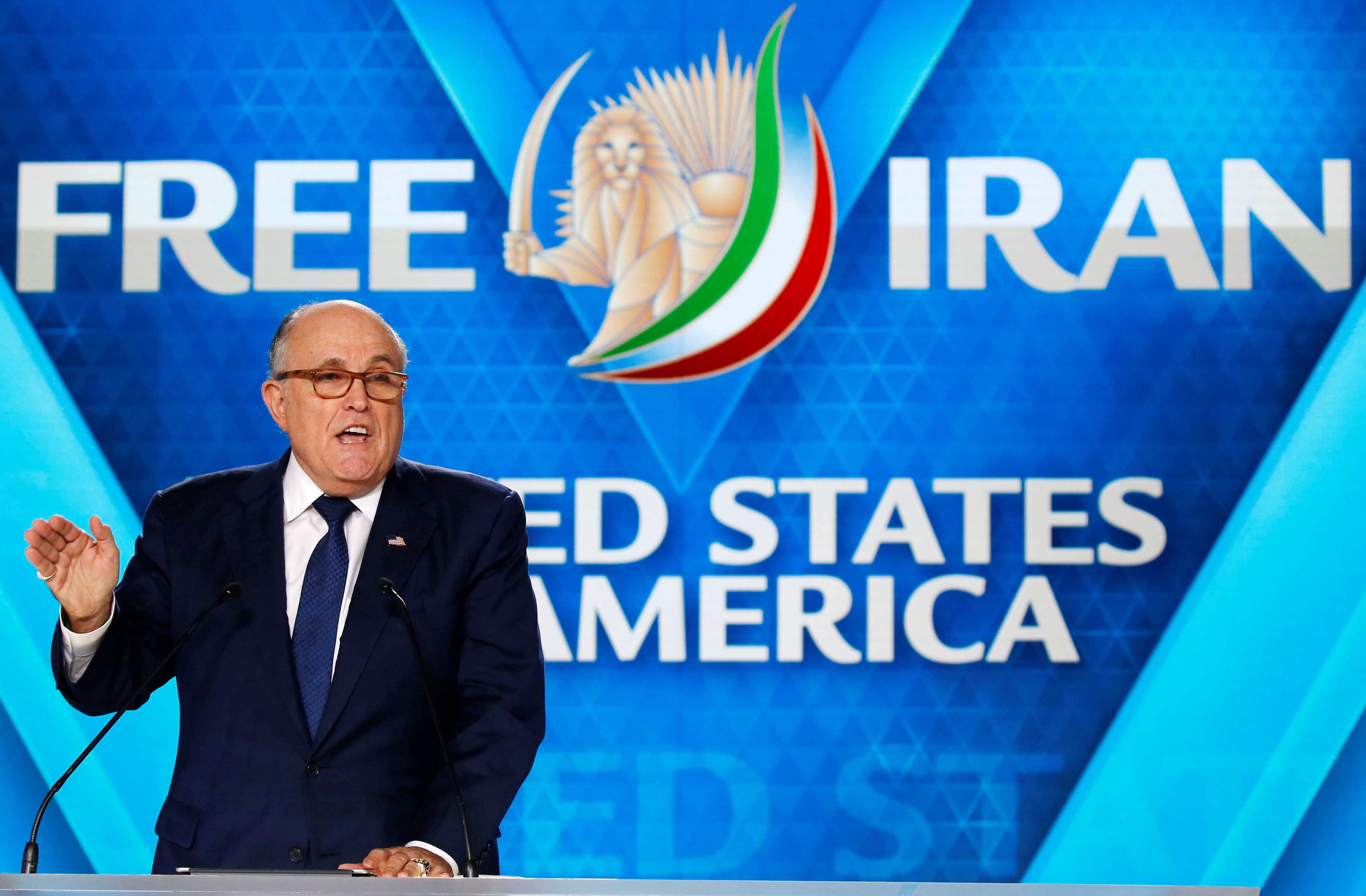 Rudy Giuliani, former Mayor of New York City, delivers his speech as he attends the National Council of Resistance of Iran (NCRI) near Paris, France, June 30, 2018 (REUTERS/REGIS DUVIGNAU)
