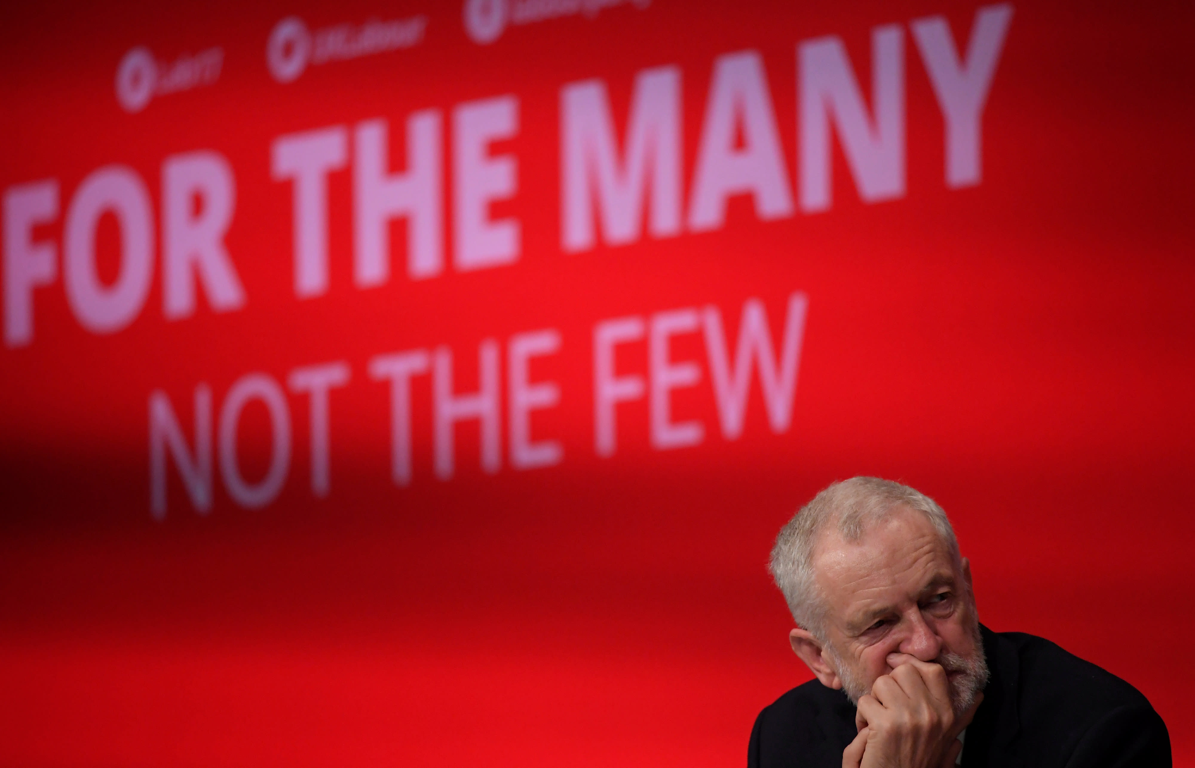 Britain's opposition Labour party leader Jeremy Corbyn listens to speeches during the Labour party Conference in Brighton, Britain, September 24, 2017. (Reuters)