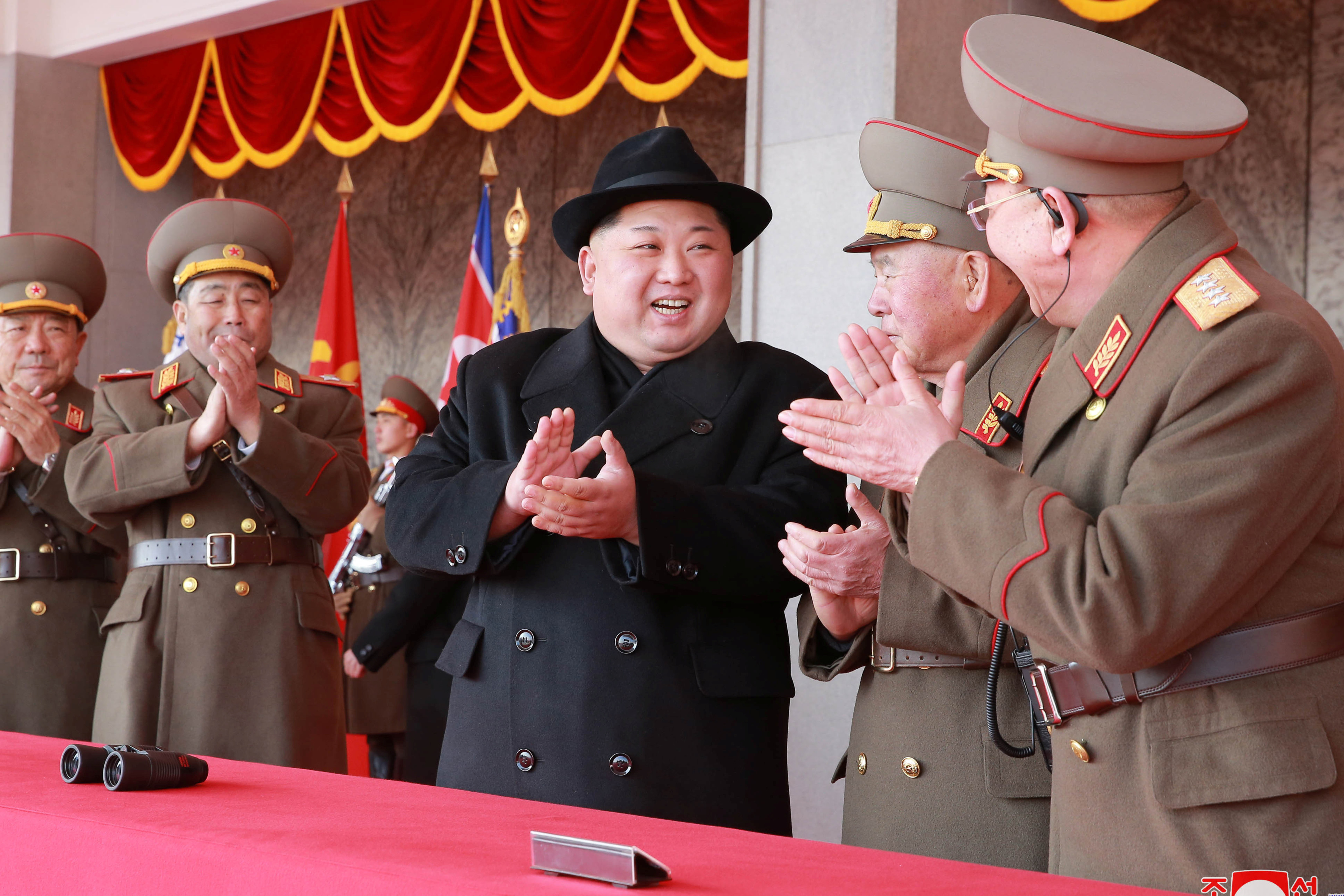 Kim Jong Un attends a grand military parade celebrating the 70th founding anniversary of the Korean People's Army in Pyongyang, in this photo released by North Korea's Korean Central News Agency (KCNA/REUTERS)