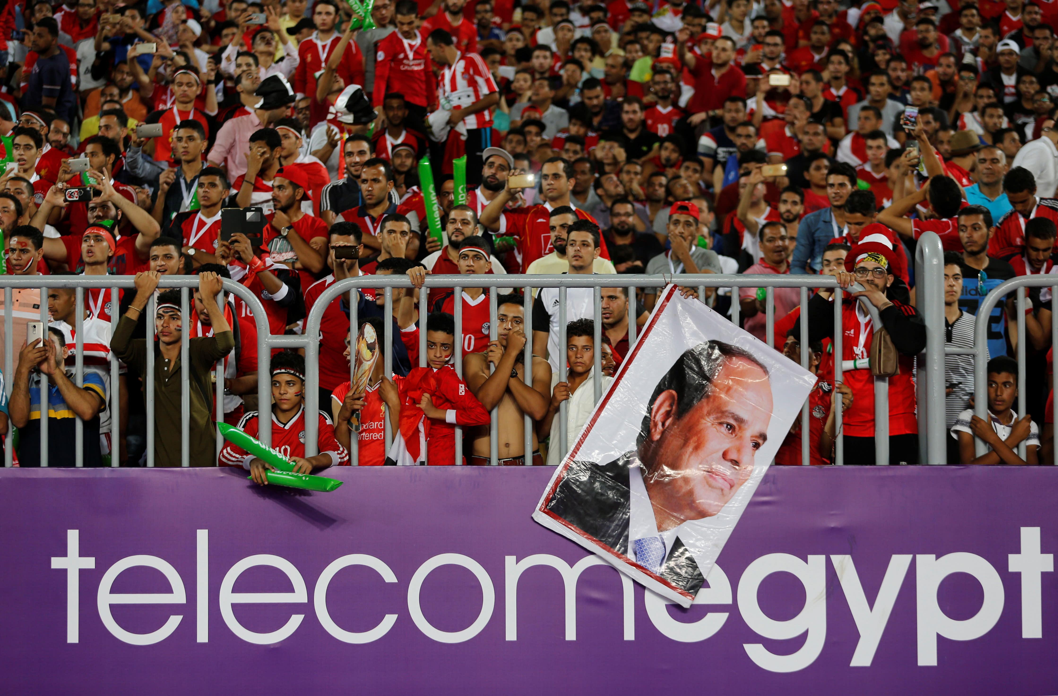 Egyptian soccer fans at Borg El Arab Stadium, Alexandria, Egypt, October 8, 2017 (Reuters)