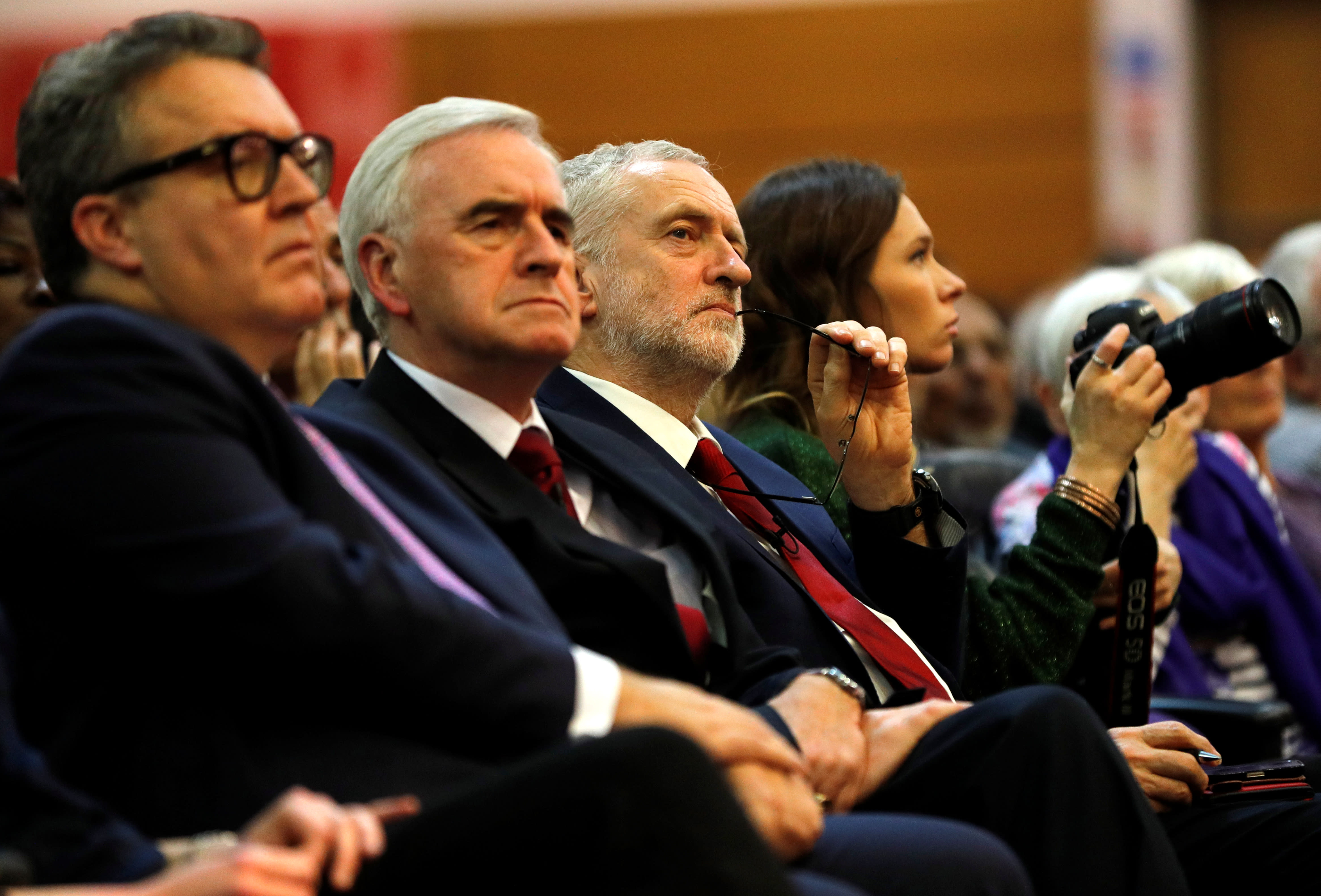Leader of the opposition Jeremy Corbyn, Shadow Finance Minister John McDonnell and deputy leader of the Labour Party Tom Watson, November 23, 2017 (Reuters)
