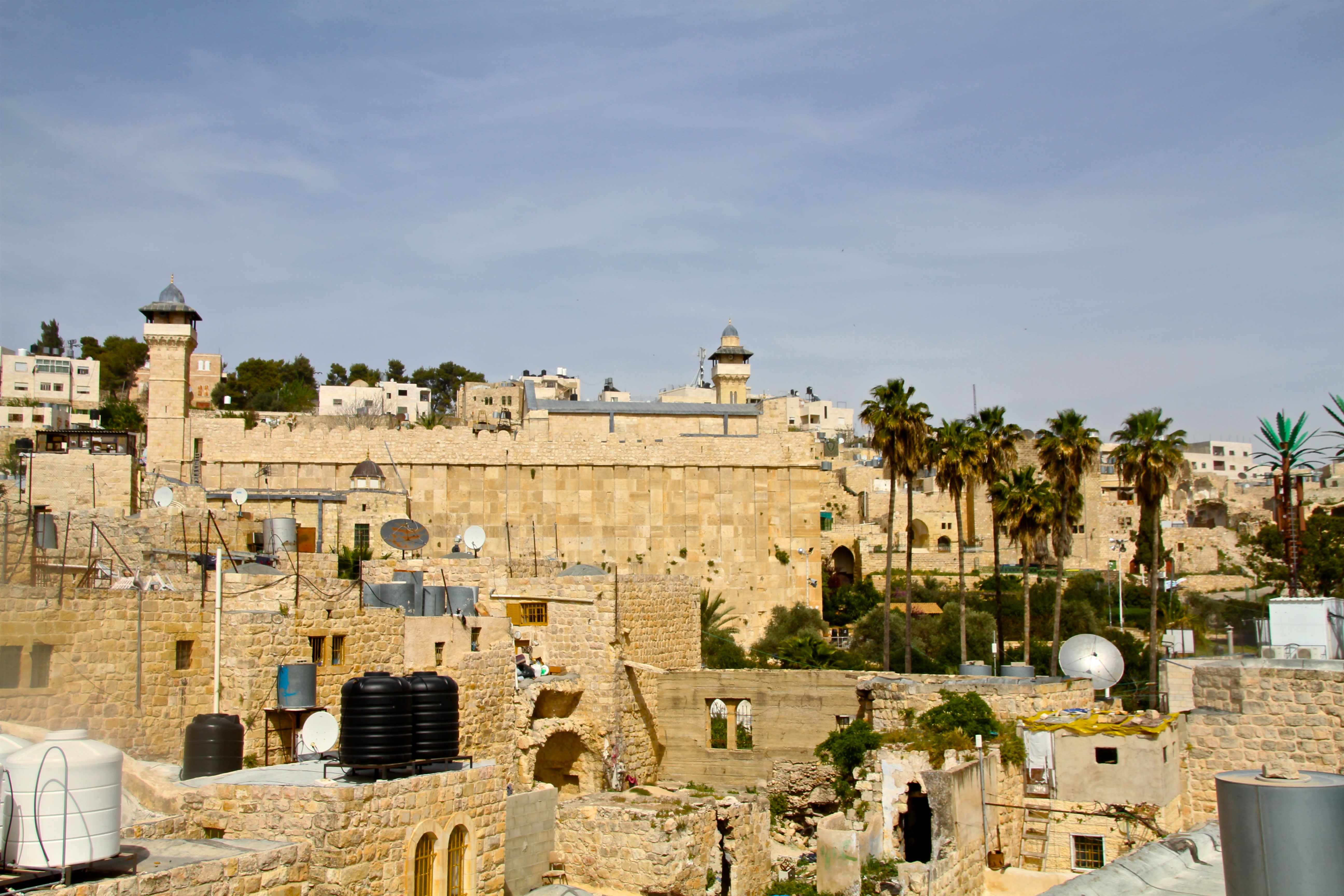 The Tomb of the Patriarchs as seen from the top of one of the two homes (Tovah Lazaroff)