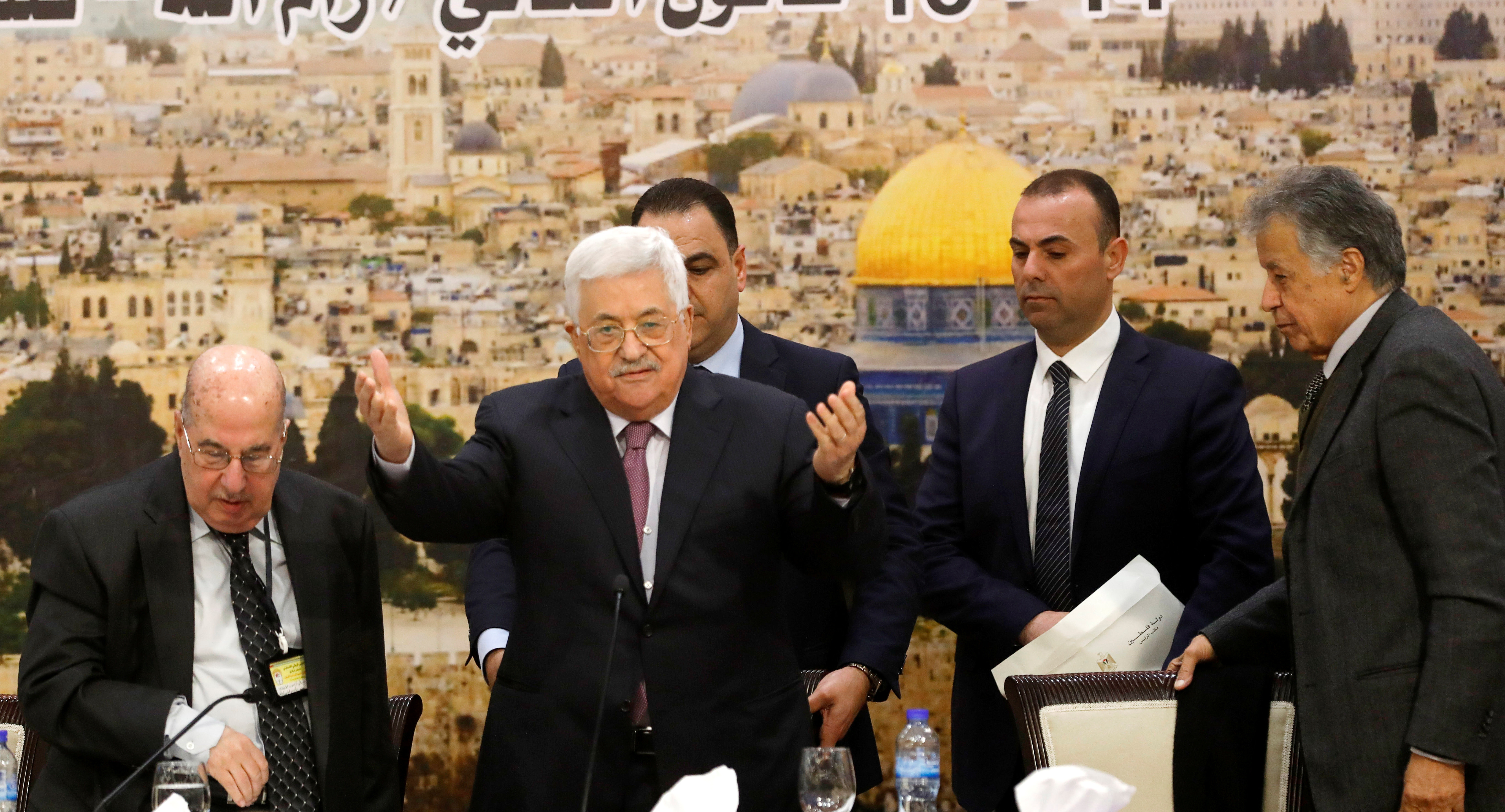 Palestinian President Mahmoud Abbas arrives to attend the meeting of the Palestinian Central Council in the West Bank city of Ramallah January 14, 2018 (Reuters)