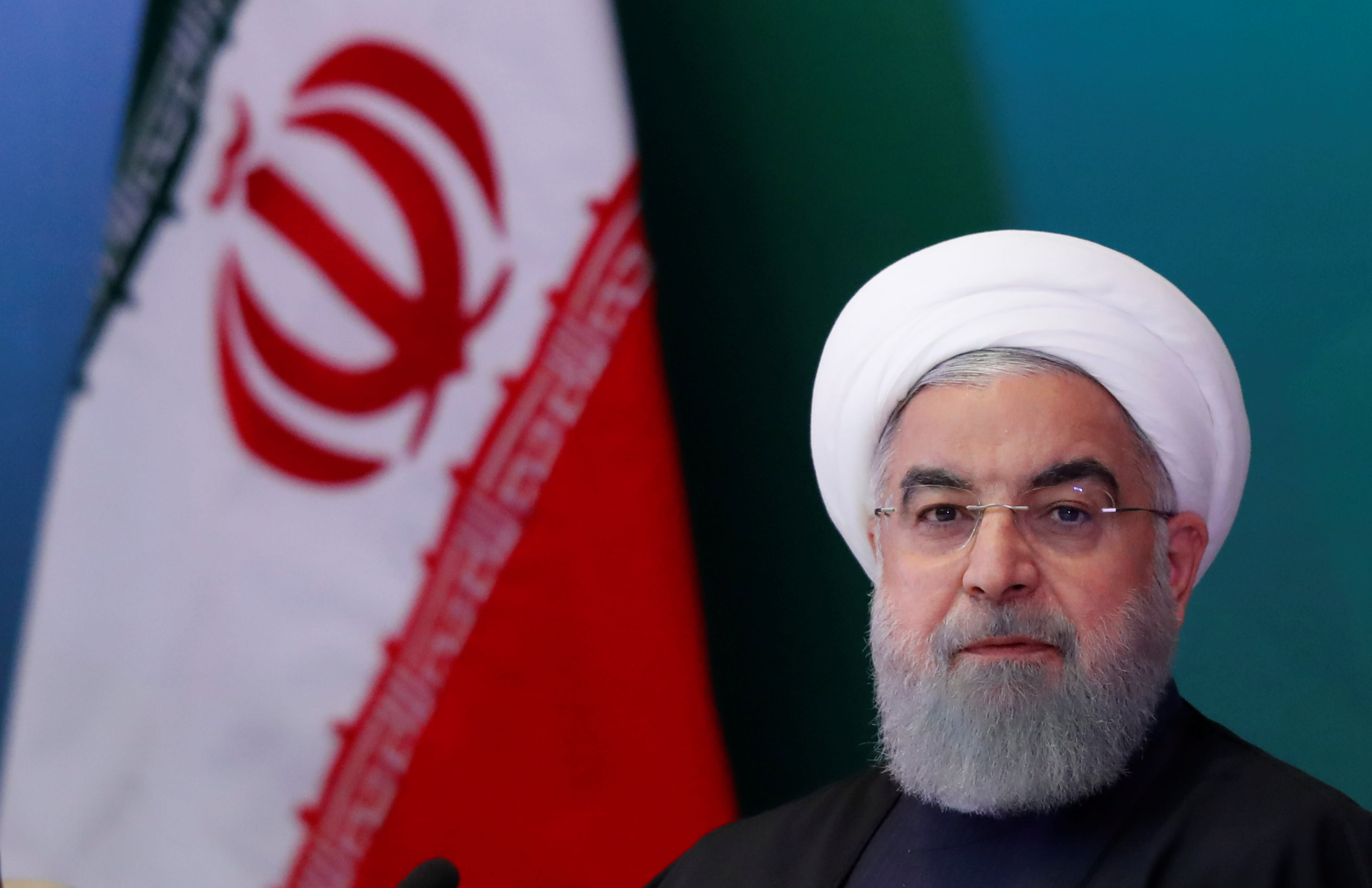 Iranian President Hassan Rouhani attends a meeting with Muslim leaders and scholars in Hyderabad, India, February 15, 2018. (Reuters)