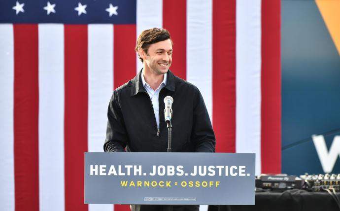 Jon Ossoff speaks in Stonecrest, Ga., Dec. 28, 2020 ((Paras Griffin/Getty Images)PARAS GRIFFIN/GETTY IMAGES/JTA).