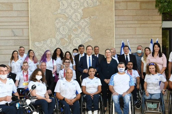 President Isaac Herzog hosted an event to salute the Israeli delegation at the Tokyo 2020 Paralympic Games.AMOS BEN-GERSHOM/GPO