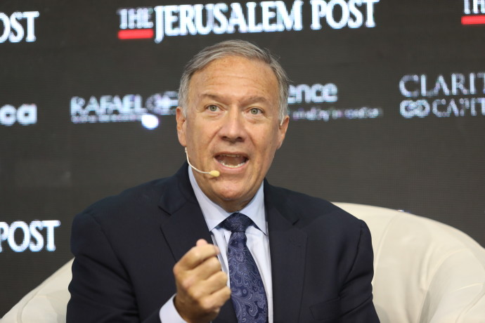 Former US secretary of state Mike Pompeo speaking at the Jerusalem Post Annual Conference, October 12, 2021 (Credit: MARC ISRAEL SELLEM)