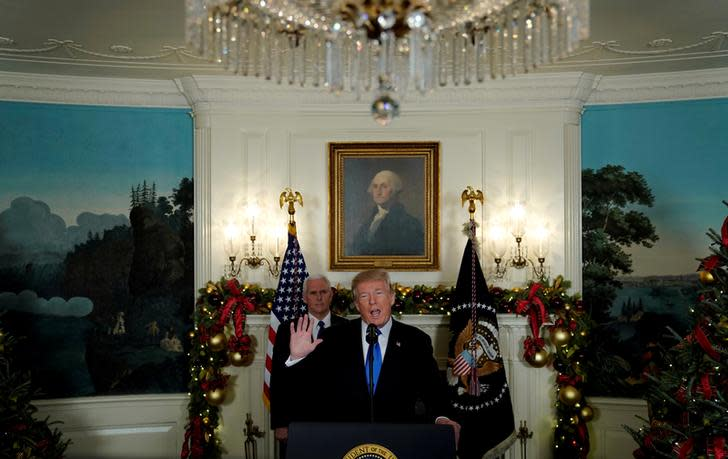 US President Donald Trump delivers remarks recognizing Jerusalem as the capital of Israel at the White House in Washington, US December 6, 2017. (Reuters)