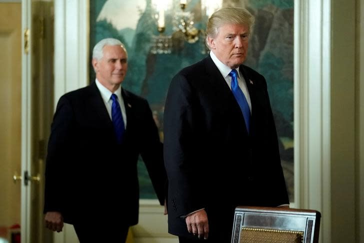 US President Donald Trump and Vice President Mike Pence arrive for Trump to deliver remarks recognizing Jerusalem as the capital of Israel at the White House in Washington, US December 6, 2017 (Reuters)