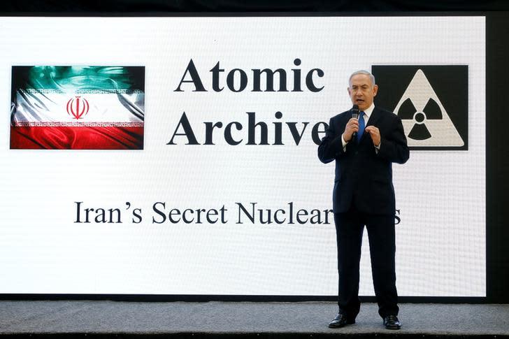 Israeli Prime Minister Benjamin Netanyahu speaks during a news conference at the Ministry of Defense in Tel Aviv, Israel, April 30, 2018. (AMIR COHEN/REUTERS)
