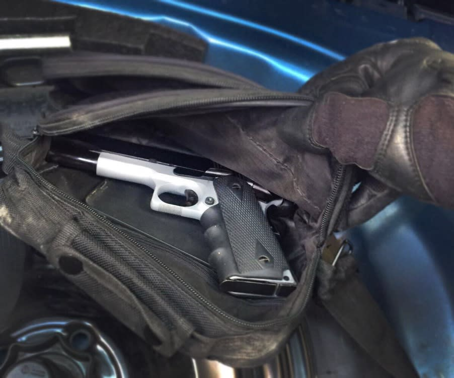 A pistol, belonging to a Hamas cell planning a West Bank kidnapping attempt, seized by the Shin Bet